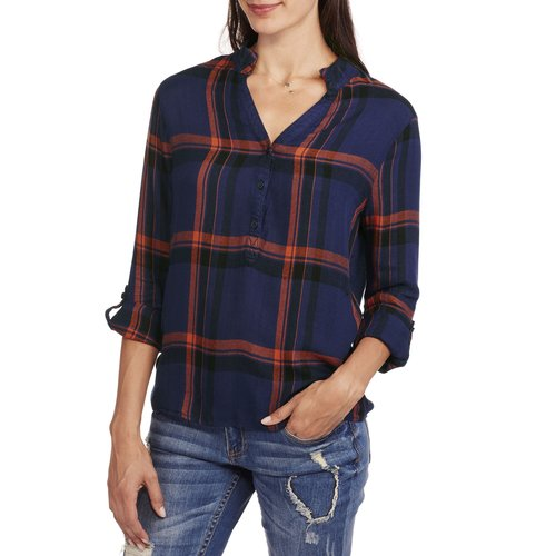 Brooke Leigh Women's Collorless Plaid Shirt