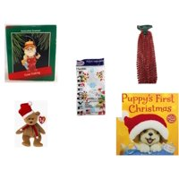 """Christmas Fun Gift Bundle [5 Piece] - Hallmark Gone Fishing Handcrafted Ornament -  Time Red Beaded Garland 18' Feet - Party Expressions Plastic Table cover 54"""" x 108"""" Rectangle - Ty Beanie Babies S"""
