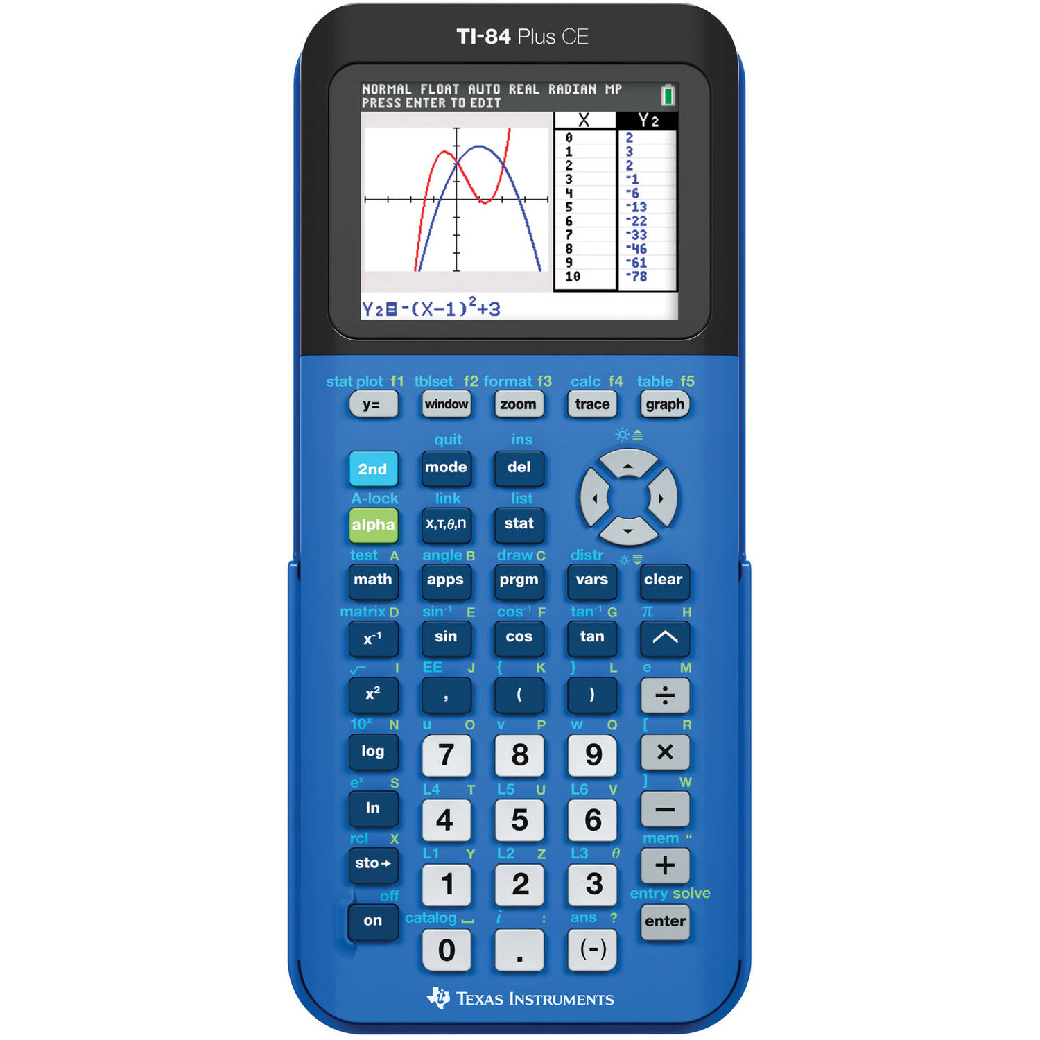 Texas Instruments TI-84 Plus CE Graphing Calculator, Blue by Texas Instruments