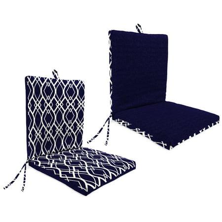 Mainstays 1-Piece Outdoor Chair Cushion, Navy Trellis Floral Chair Cushion