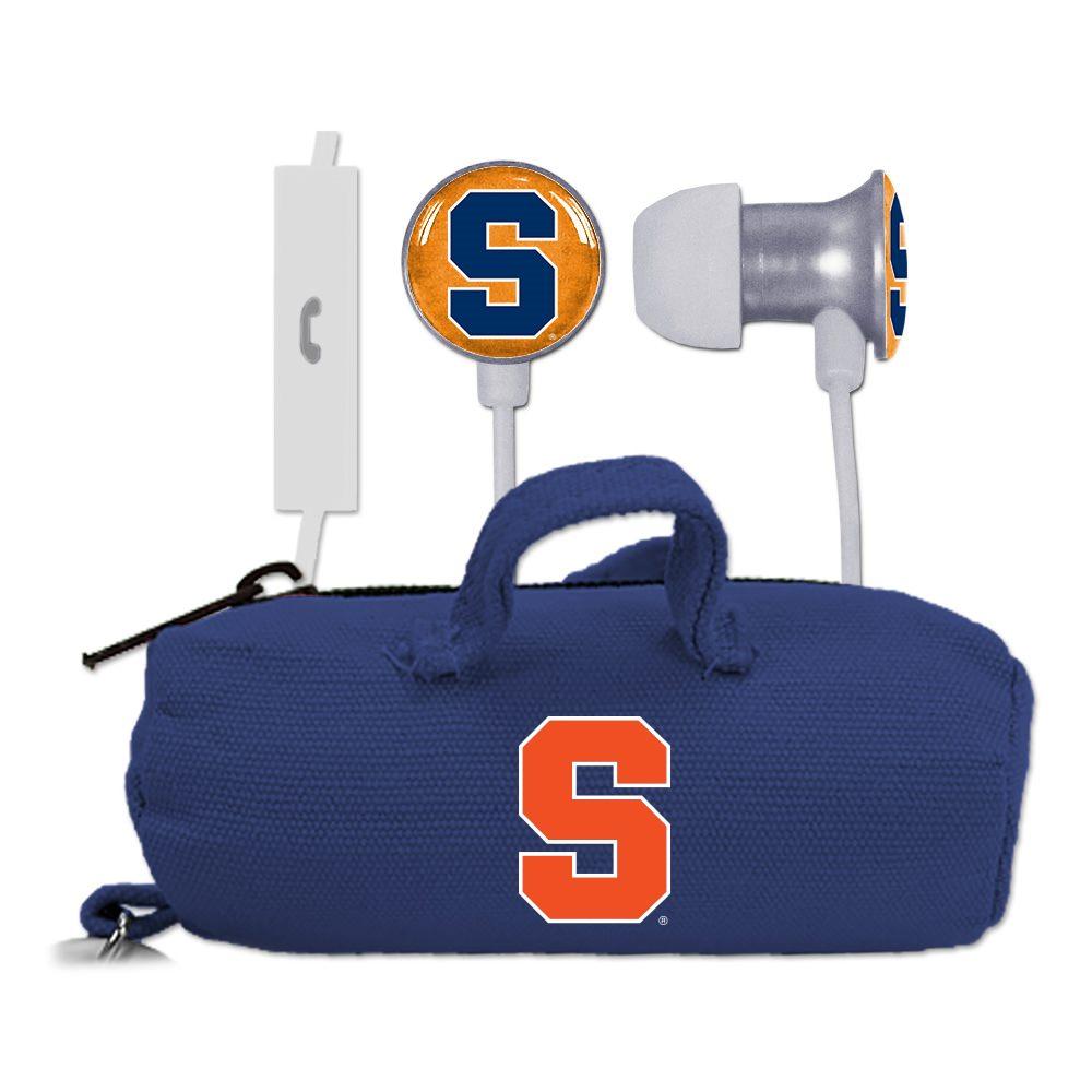 Syracuse Orange Scorch Earbuds + Mic with BudBag