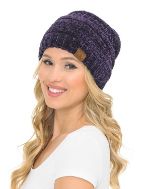 C.C Hat-20A Slouchy Thick Warm Cap Hat Skully Color Cable Knit Beanie Black
