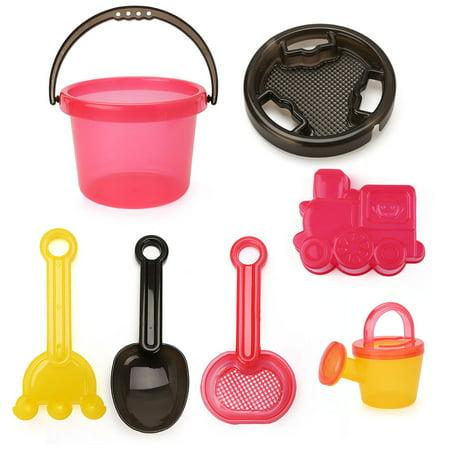 Beach Sand Toys Set, Bucket with Sand Sifter Cover, Shovel, Car Mold, Rake, Water Pail and Sifter Shovel, BPA - Shovel Cover