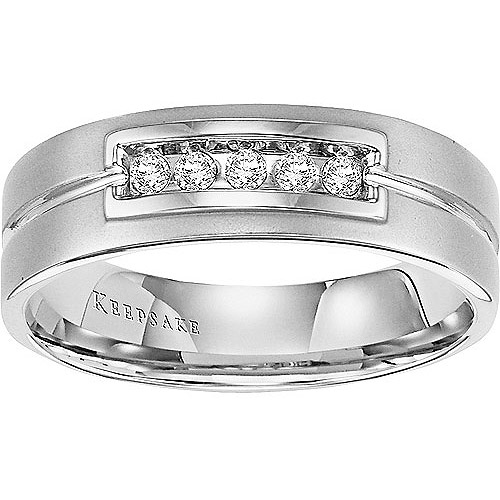 Keepsake Mayfair Men's 1/6 Carat T.W. Diamond Band in 14kt White Gold