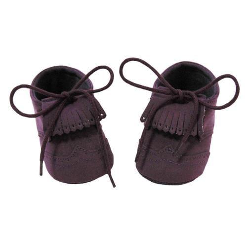 Baby Girls Purple Fringe Lace up Moccasin Crib Shoes 0-12M