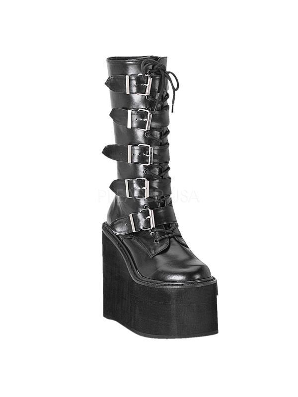 SWI220 B PU Demonia Vegan Boots Womens BLACK Size: 9 by