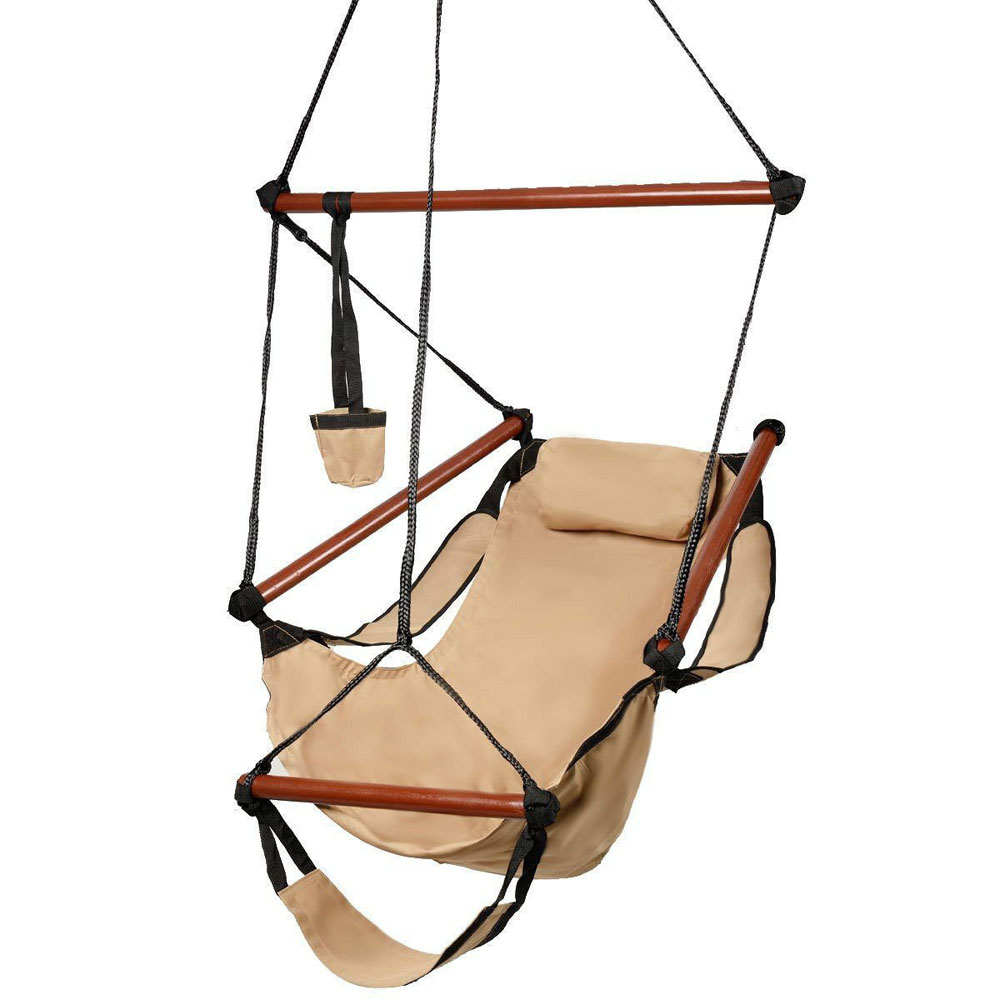 Top Knobs Hammock Hanging Chair Air Deluxe Outdoor Chair Solid Wood with Pillow and Drink Holder, 250lb