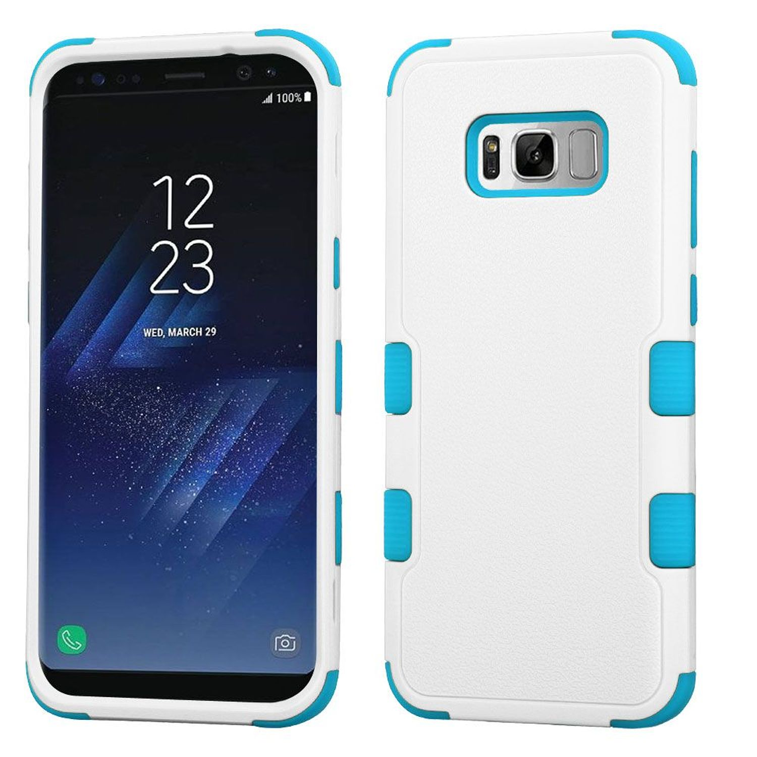Insten Tuff Dual Layer [Shock Absorbing] Hybrid Rubberized Hard Plastic/Soft Silicone Case Phone Cover For Samsung Galaxy S8, White/Blue