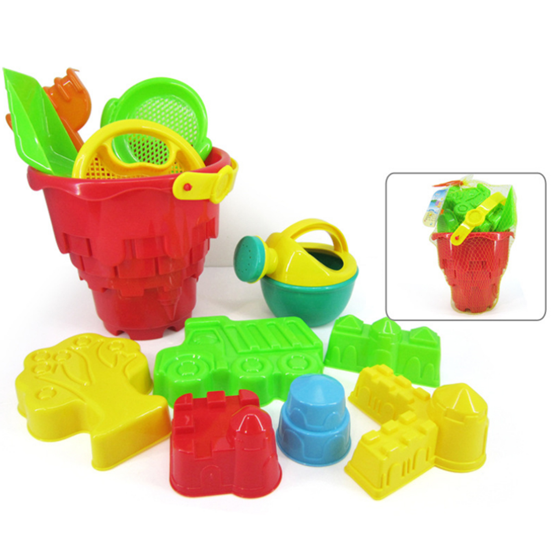 Click here to buy Set of 12Pcs Beach Sand Toy Set with Mesh Bag for Kids Beach Playing Toys Color Random.
