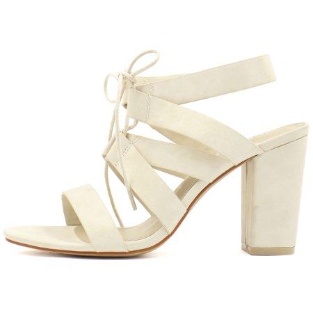 Unique Bargains Women's Chunky High Heels Cutout Detail Lace Up Sandals Beige (Size 6) - image 1 of 7