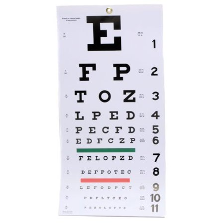 EMI Snellen wall Plastic Eye Chart 22in. X 11in.