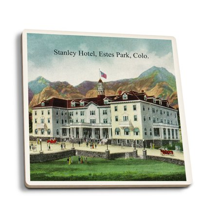Rocky Mountain National Park   Exterior View Of The Stanley Hotel  Estes Park   Vintage Halftone  Set Of 4 Ceramic Coasters   Cork Backed  Absorbent