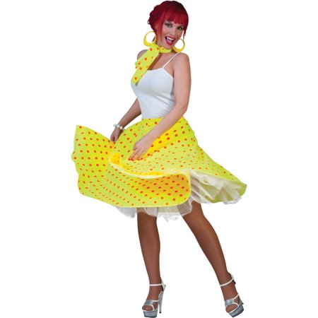 Morris costumes FF750846 Sock Hop Skirt Adult Yellow Or](Sock Hop Food Ideas)