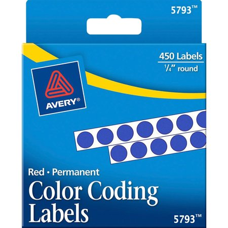Avery Permanent Self-Adhesive Round Color-Coding Labels, 1/4
