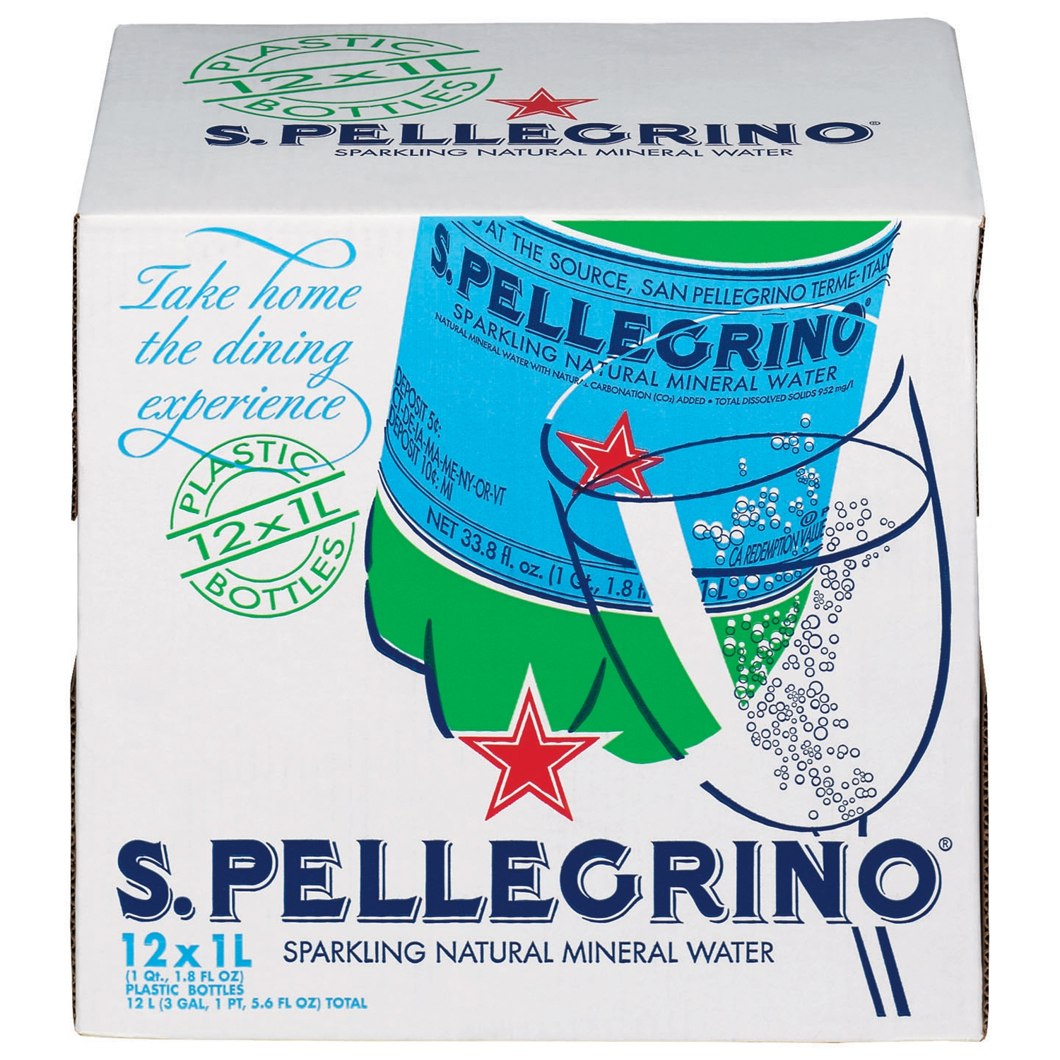 S.Pellegrino Sparkling Natural Mineral Water, 33.8-ounce plastic bottles (Pack of 12)