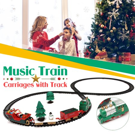 Christmas Train Set with Lights and Sounds Railway Tracks for Under The Christmas Tree Electronic Toys for Boys and Girls Battery Operated Toys Gift for Kids ()