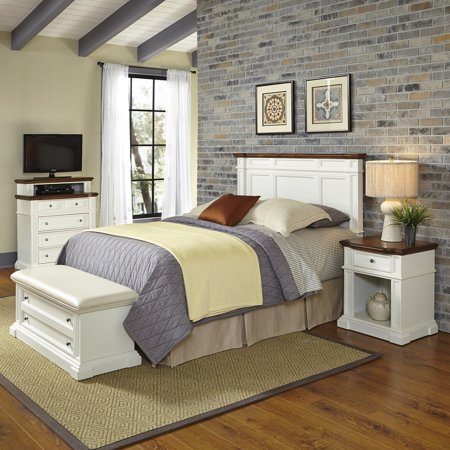 Home Styles Americana King/California King Headboard, Night Stand, Media Chest and Upholstered Bench