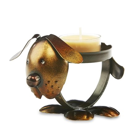 Pack of 4 Brown and Bronze Metal Rustic Chic Dog Decorative Tealight Candle Holder 4.5