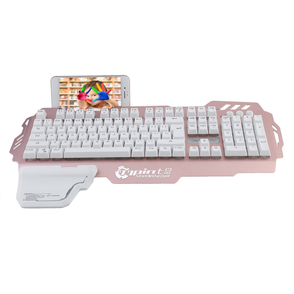 Wired Metal Backlight Gaming Keyboard Feeling 104 Keys Waterproof Keyboard