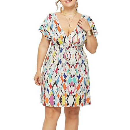 Women Summer V-Neck A-Line Print Dresses Plus-Size