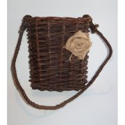 Established 98 Hanging Wicker Basket with Burlap Flower Decor