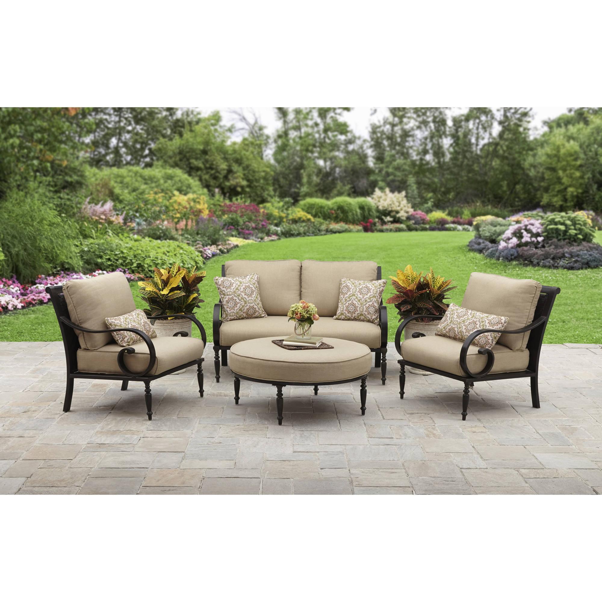 Better Homes and Gardens Englewood Heights II Aluminum 4-piece Outdoor Patio Conversation Set, Seats 4