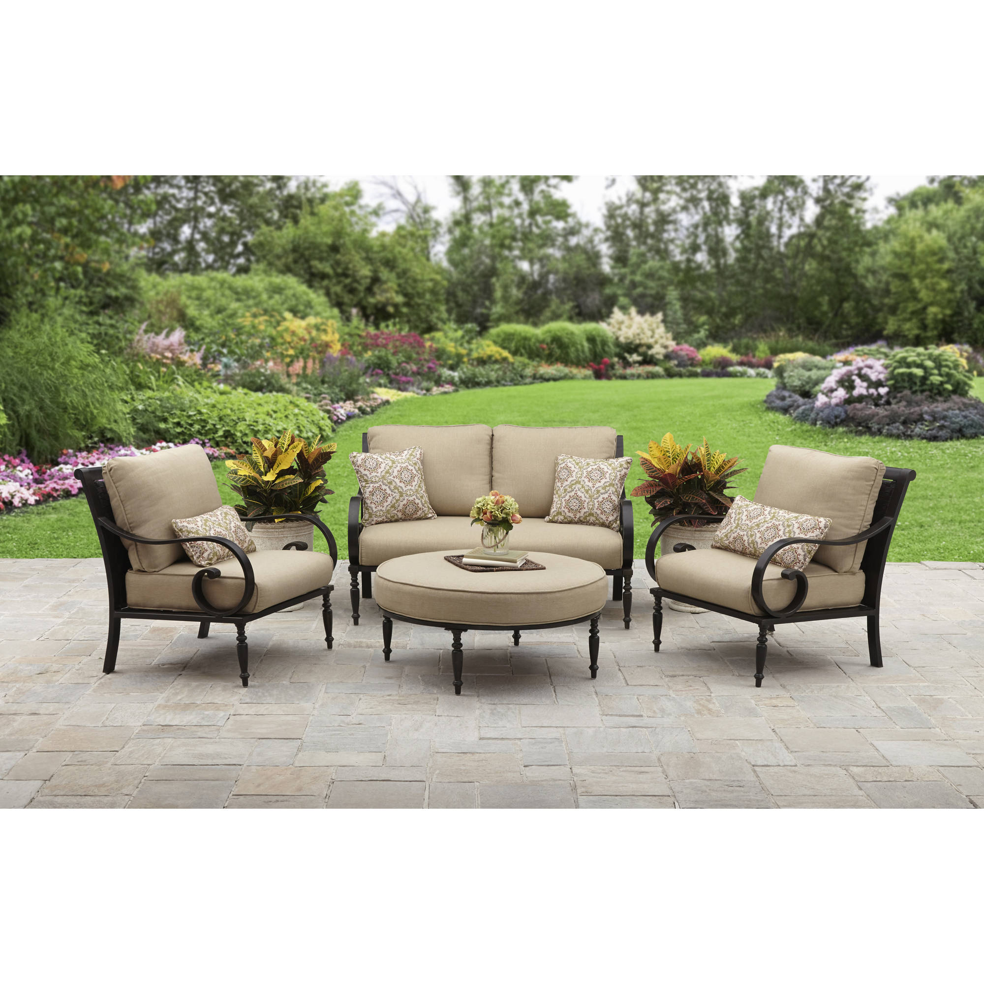 Better Homes And Gardens Englewood Heights II Aluminum 4 Piece Patio  Conversation Set, Seats