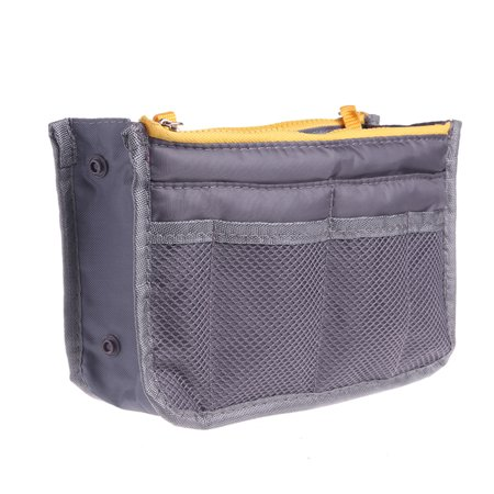 Bag Organizer Insert - Multi-functional Large Purse Organizer Insert Nylon Dual Zipper Women Travel Insert Handbag Liner Tidy Organizers (Grey)