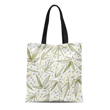 ASHLEIGH Canvas Tote Bag Green Bamboo Trend Leaves and Stems of Tropical Plants Durable Reusable Shopping Shoulder Grocery Bag