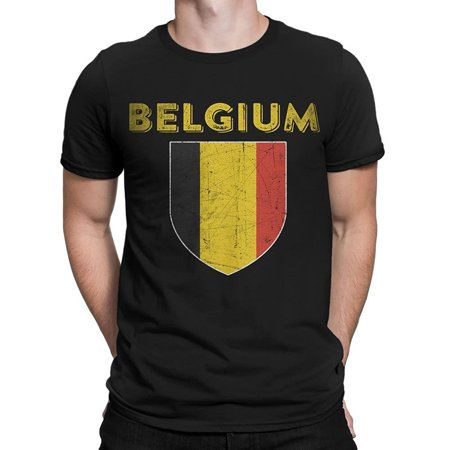 NYC FACTORY Belgium Flag Tee Mens Football T-Soccer Shirt T-Shirt Retro (Shirt Retro Football Shirts)