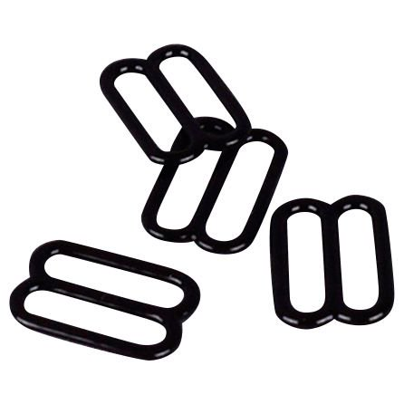 """Porcelynne Black Nylon Coated Metal Replacement Bra Strap Slide - 1/2"""" (13mm) Opening - 50 Pairs (100 Pieces)"""