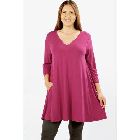 Plus Size 80s Fashion (JED FASHION Women's Plus Size Longline V-Neck Tunic Top with)