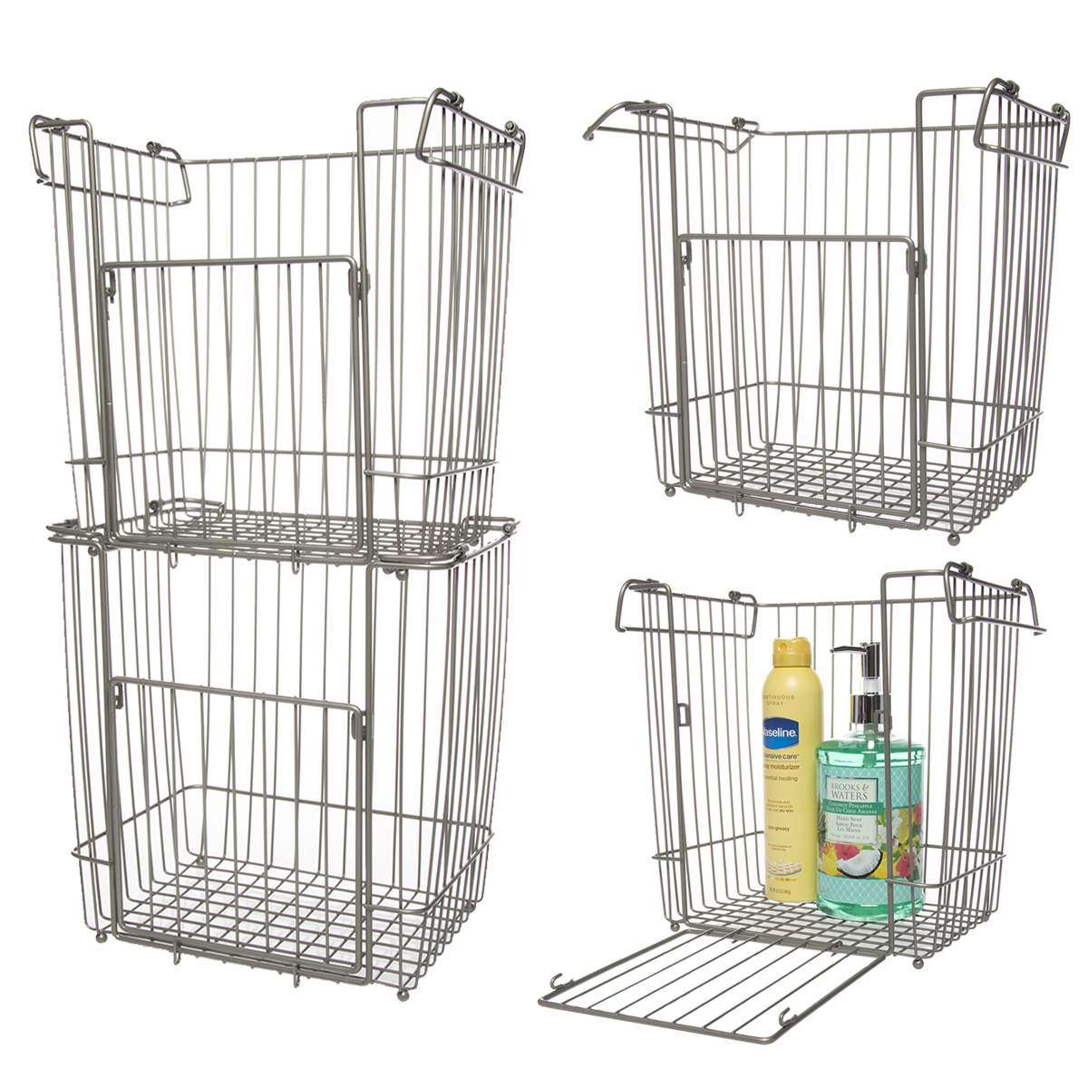 kitchen storage baskets wire glacier bay 4 pack large metal wire stackable baskets 6142