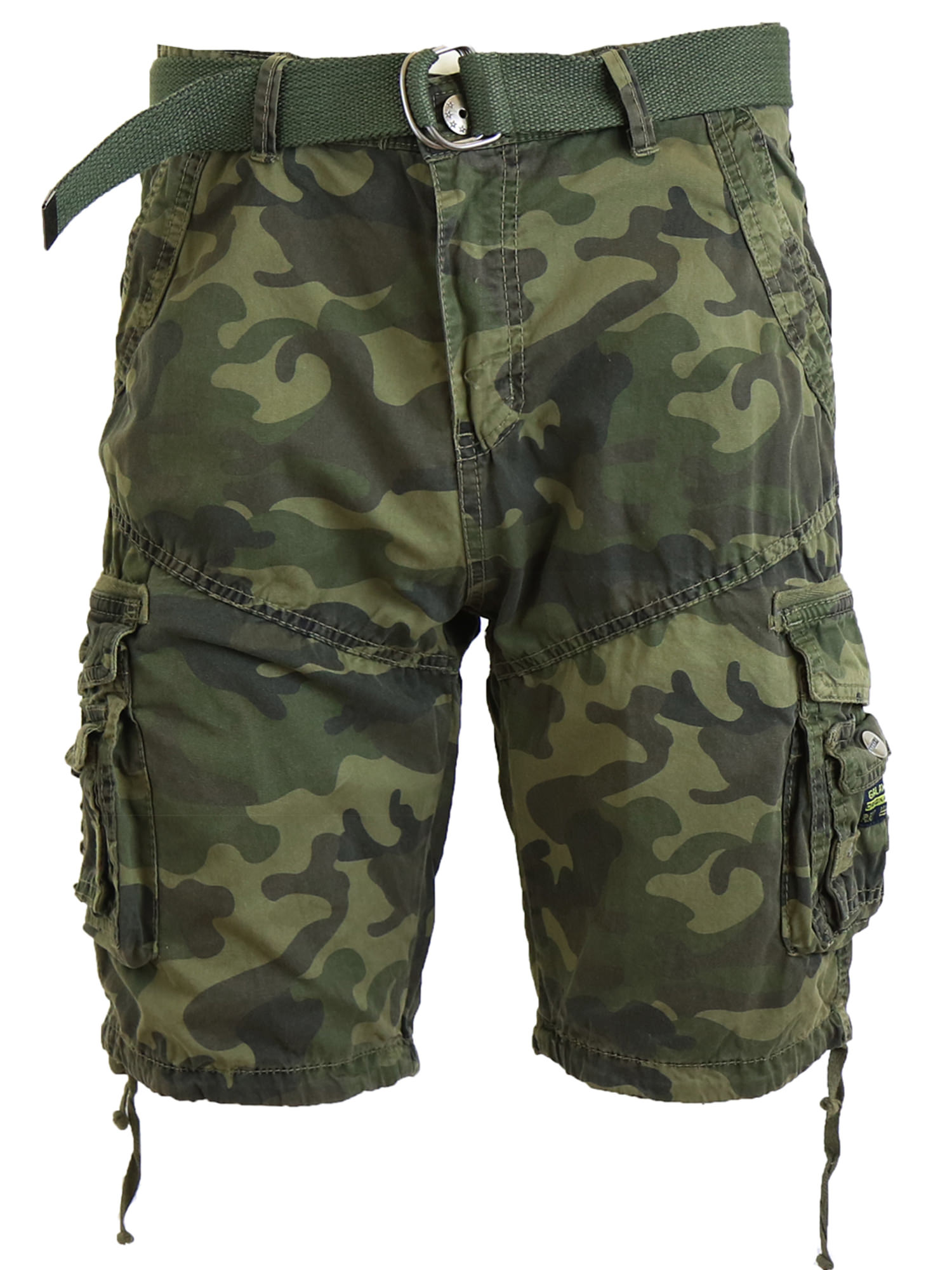 Mens Cargo Shorts Belted Cotton Twill Flat Front Washed Utility Pockets
