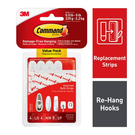 Command Refill Strips White 8 Small 4 Medium 4 Large Pack