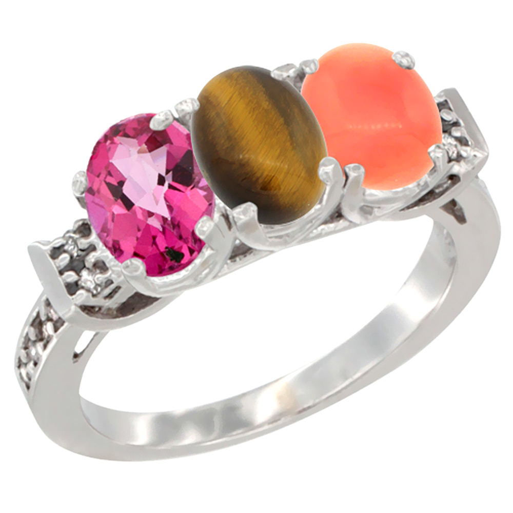 14K White Gold Natural Pink Topaz, Tiger Eye & Coral Ring 3-Stone Oval 7x5 mm Diamond Accent, sizes 5 10 by WorldJewels