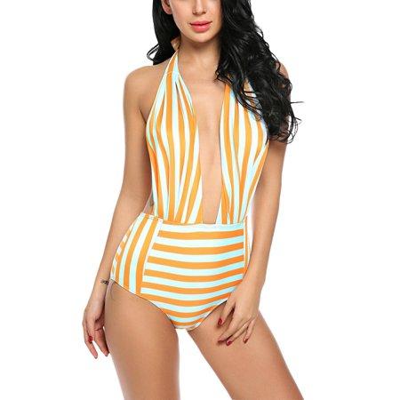 2dedbba7d4 Women Sexy Halter One Piece Swimwear Padded Backless Striped Beach Wear  Monokini HFON - Walmart.com