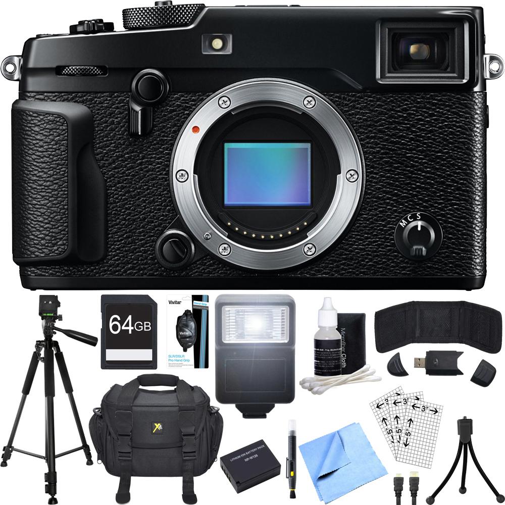 Fujifilm X-Pro 2 Mirrorless X-Trans CMOS III Black Digital Camera Accessory Bundle includes Camera, 64GB SDXC Memory Card, Case, Tripod, Wrist Strap, Flash, Spare Battery, Beach Camera Cloth and More
