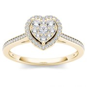 1/4ct TW Diamond 10K Yellow Gold Heart Shaped Cluster Halo Engagement ring