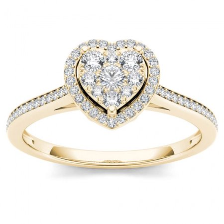 Heart Shaped Diamond Solitaire Rings - 1/4ct TW Diamond 10K Yellow Gold Heart Shaped Cluster Halo Engagement ring