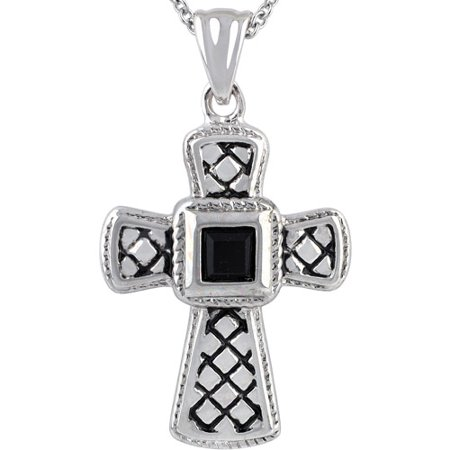Truly Crystal Swarovski Silver-Tone Jet Textured Cross Pendant Necklace, 18