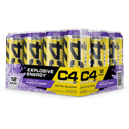 C4 Original Carbonated, Pre Workout + Energy Drink, 12-16oz Cans, Purple