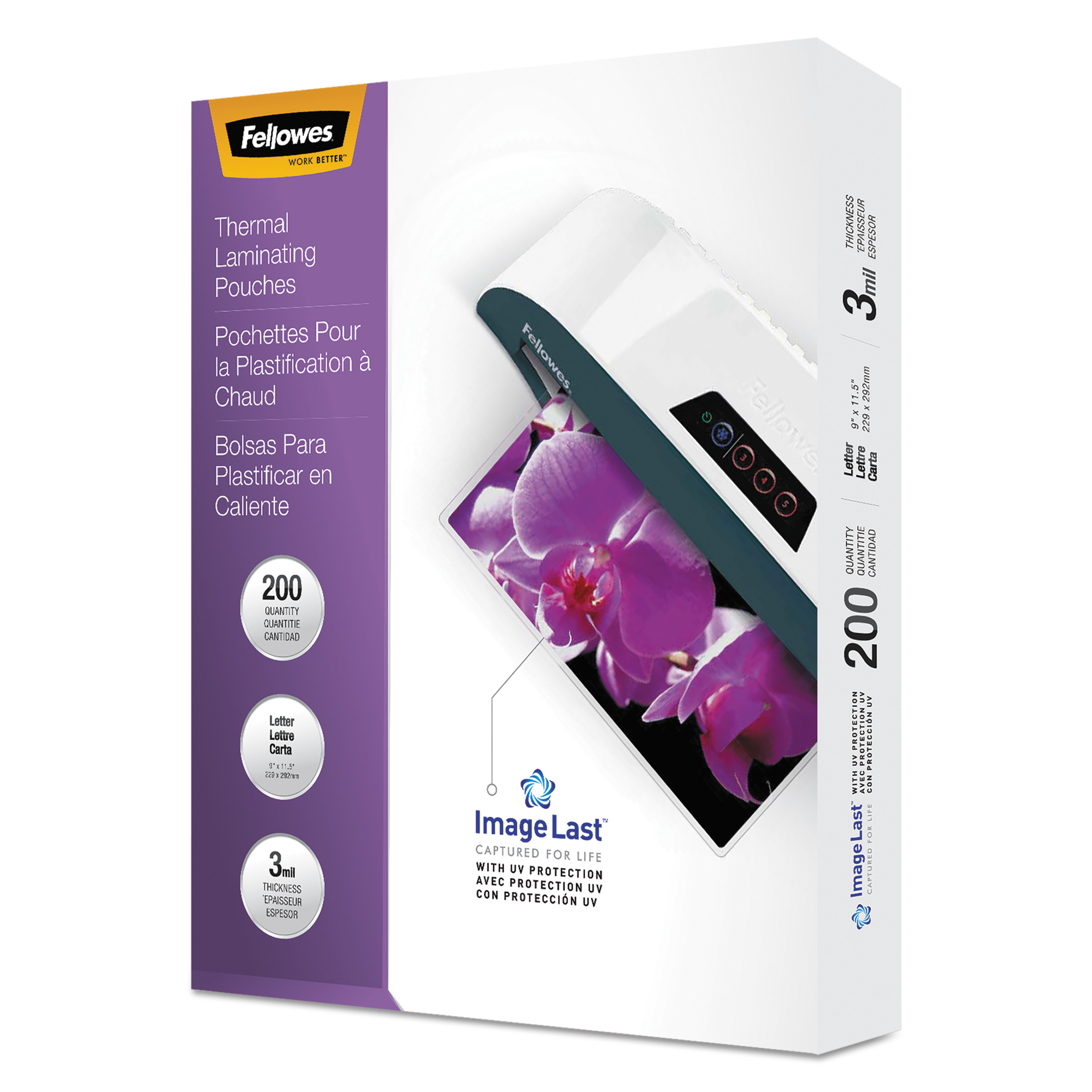 Fellowes ImageLast Laminating Pouches with UV Protection, 3mil, 11 1/2 x 9, 200/Pack