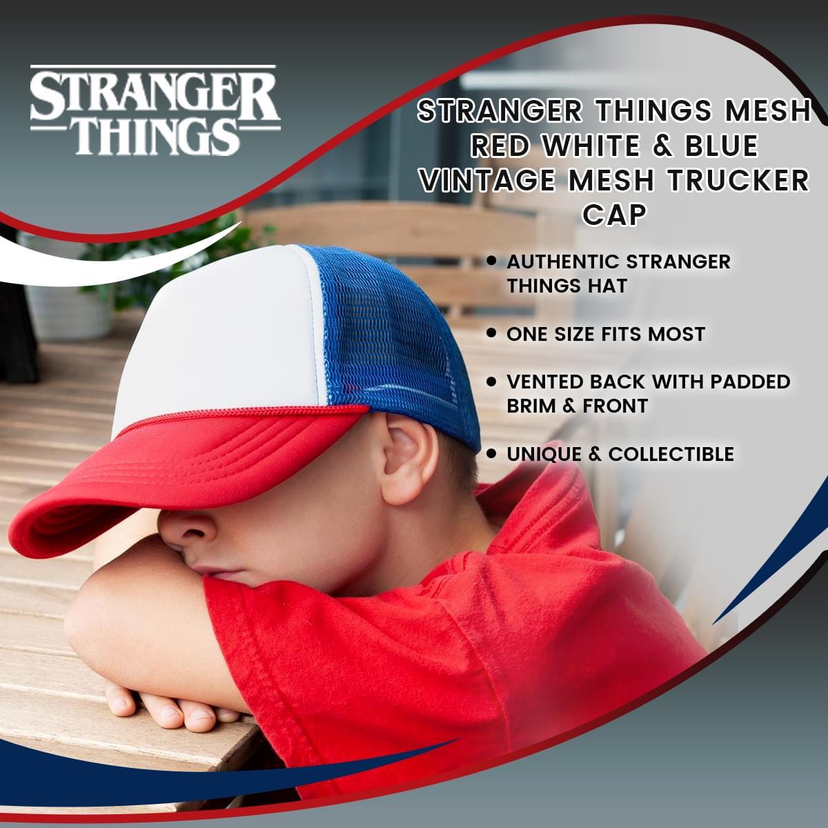 27e91ceeb5bef Stranger Things Mesh Red White   Blue Vintage Mesh Trucker Cap - Walmart.com