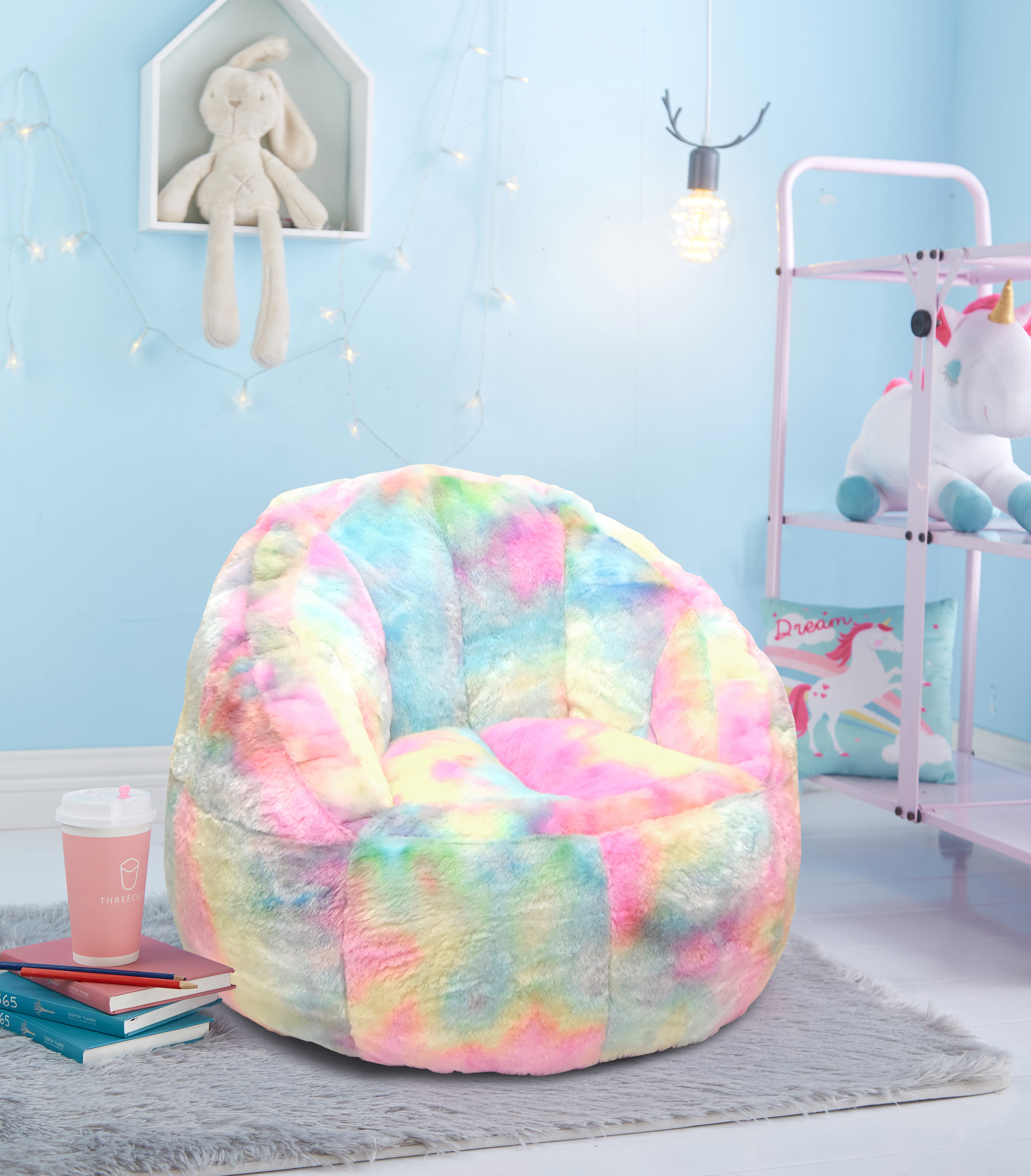 Awesome Heritage Club Rainbow Fur Bean Bag Chair Walmart Com Dailytribune Chair Design For Home Dailytribuneorg