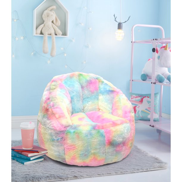 Heritage Club Rainbow Fur Kids Small Bean Bag Chair