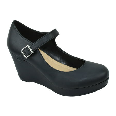 - City Classified Shoes Women Mary Jane Ankle Strap Wedge Platform Pumps MARK Black PU 5.5