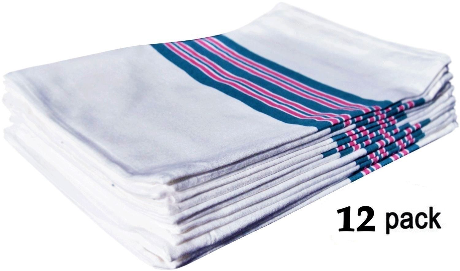 "GHP 12-Pcs White Blue Pink Striped 30""x40"" 100% Soft Cotton Infant Receiving Blanket by Globe House Products"