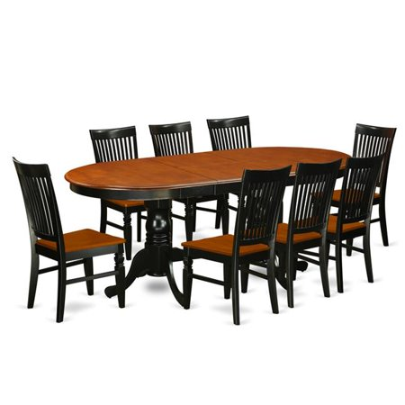Kitchen Table Set with a Dining Table & 8 Wood Seat Kitchen Chairs, 9 piece - Black & Cherry ()