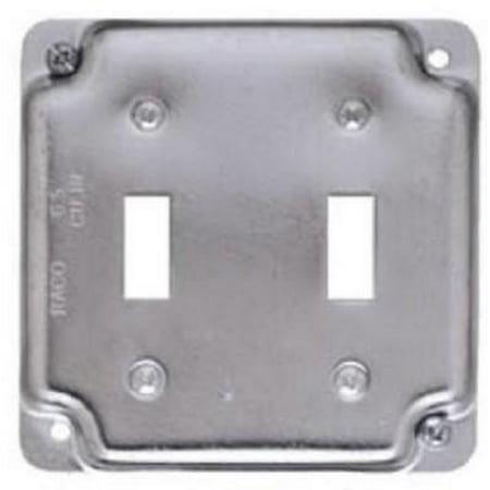 "4"" Flat Corner Square Double Toggle Switch 1/2"" Rise Box Cover Steel E 4PK"